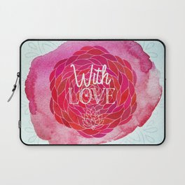 With Love - Boho Watercolor Mandala Laptop Sleeve