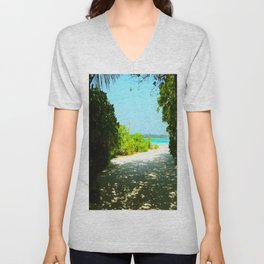 Maldives -  Beach Path Unisex V-Neck