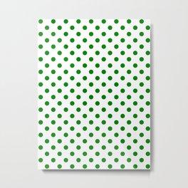 Small Polka Dots - Green on White Metal Print