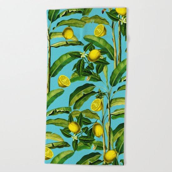 Lemon and Leaf II Beach Towel