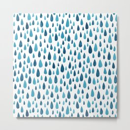 Blue Raindrops Metal Print