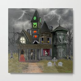 Halloween Haunted Mansion Metal Print