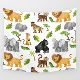 Safari Animals Pattern Watercolor Wall Tapestry