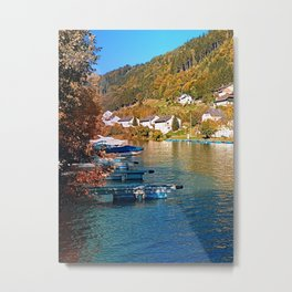 Boats in the harbour   waterscape photography Metal Print