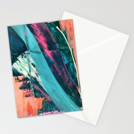 Wild [7]: a bold, colorful abstract mixed-media piece in teal, orange, neon blue, pink and white Stationery Cards