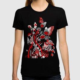 Magic Mushroom Red black blue T-shirt