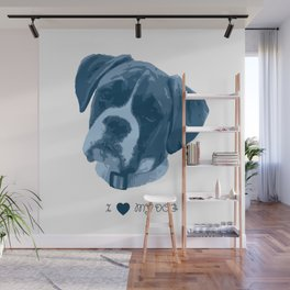 I love my dog - Boxer, blue Wall Mural