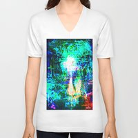 "hologram V-neck T-shirts featuring "" The voice  is a second face"" by shiva camille"