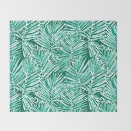 ON VACAY Green Palm Leaves Throw Blanket