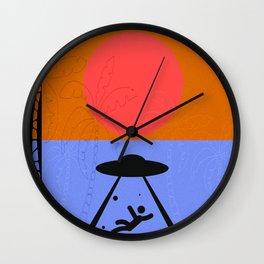 Minimal Sunset Alien Wall Clock