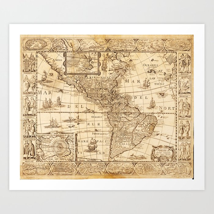 North and South America Map, America noviter delineata (1670) Art Print by  thearts