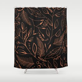 Holiday Pattern in black background and rose leaves Shower Curtain