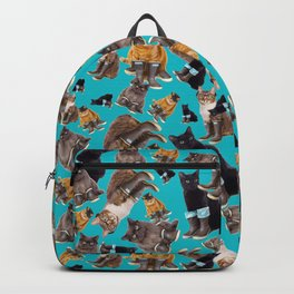 Tough Cats on Aqua Backpack