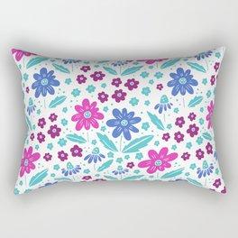 blue, pink and teal flowers Rectangular Pillow