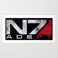 n7 Art Prints featuring N7 Adept by Draygin82