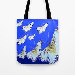 PATTERN OF BLUE & WHITE BUTTERFLIES MODERN ART Tote Bag