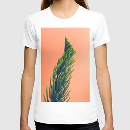 Complementary Colors Green Salmon Pink Against Background T-shirt