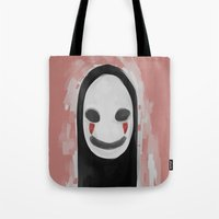 studio ghibli Tote Bags featuring Studio Ghibli-Spirited Away by Devilphernelia