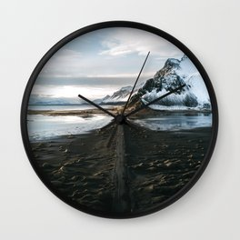 Mountain beach road in Iceland - Landscape Photography Wall Clock