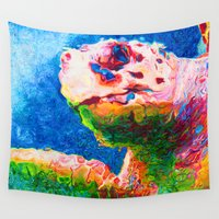 sea turtle Wall Tapestries featuring Sea Turtle by Christopher Brewer Art