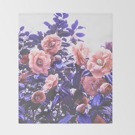 Wild Roses - Ultra Violet and Coral #decor #floral #buyart Throw Blanket