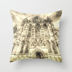 York Minster Cathedral Vintage Throw Pillow