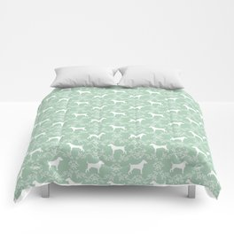 Jack Russell Terrier floral silhouette dog breed pet pattern silhouettes dog gifts mint Comforters