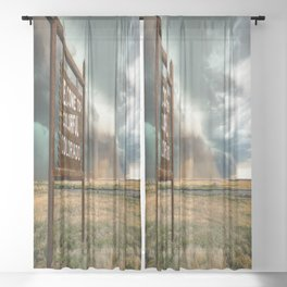 Colorful Colorado - Storm Advances Past Colorado State Line Sign Sheer Curtain