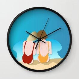 Poolside girls Wall Clock