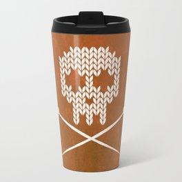 Knitted Skull - White on Orange Travel Mug