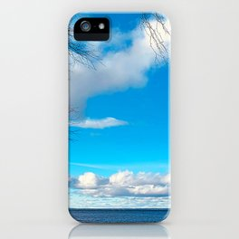 Beautiful lake view and blue sky in Sweden iPhone Case
