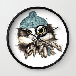 Owl eyeglass and cap Wall Clock