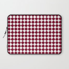 White and Burgundy Red Diamonds Laptop Sleeve