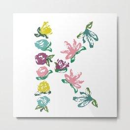 Floral K Monogram Metal Print