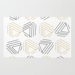 Abstract Gold Black Pattern Rug