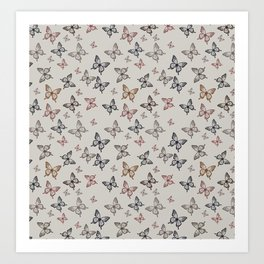 Butterfly kisses repeating pattern Art Print