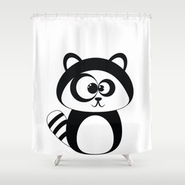 Cute Funny Raccoon Shower Curtain