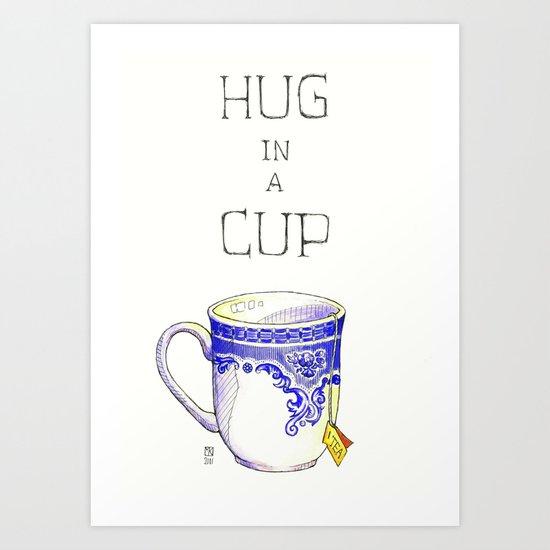Hug in a Cup II Art Print