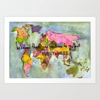wanderlust Art Prints featuring wanderlust by Eliza L