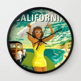 Southern California Travel Poster Wall Clock