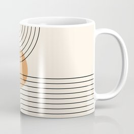 Geometric Lines in Black and Beige 14 (Rainbow and Sun Abstraction) Coffee Mug