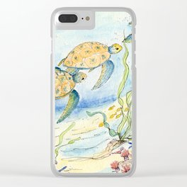 Sea Turtles, Coral and Kelp Clear iPhone Case