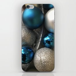 Holiday Blue and Silver Glitter Ornaments iPhone Skin