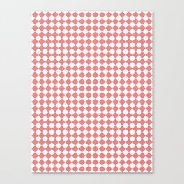 Small Diamonds - White and Coral Pink Canvas Print