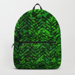 Don't leaf me (Vibrant green grass and clover meadow with chevron pattern) Backpack