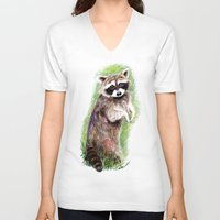 raccoon V-neck T-shirts featuring Raccoon by Anna Shell