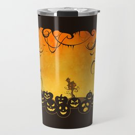 Halloween Pumpkin Faces Travel Mug