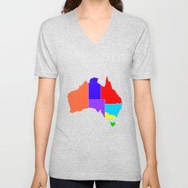 Australia States In Colour Silhouette Unisex V-Neck