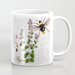 Cottage Style Thyme, Bumble Bee, Hummingbird, Herbal Botanical Illustration Coffee Mug