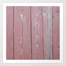 red old rustic wood wall Art Print